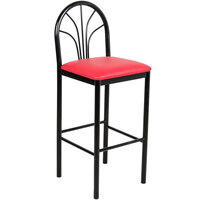 Lancaster Table & Seating Fan Back Bar Height Cafe Chair with 2 inch Red Padded Seat