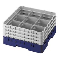 Cambro 9S958186 Navy Blue Camrack 9 Compartment 10 1/8 inch Glass Rack