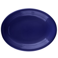 Tuxton CCH-1142 Concentrix 11 1/2 inch x 8 3/4 inch Cobalt Oval China Coupe Platter   - 12/Case