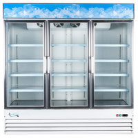 Avantco GDC-69 79 inch White Three Section Swing Glass Door Merchandising Refrigerator with LED Lighting - 69 cu. ft.