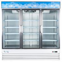 "Avantco GDC-69 79"" White Three Section Swing Glass Door Merchandising Refrigerator with LED Lighting - 69 cu. ft."