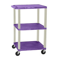 Luxor WT1642E Purple Tuffy Open Shelf A/V Cart 18 inch x 24 inch with 3 Shelves - Adjustable Height