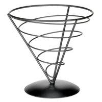 Tablecraft AC77 Vertigo Round Appetizer Wire Cone Basket - 7 inch x 7 inch