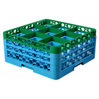 Carlisle RG9-3C413 OptiClean 9 Compartment Glass Rack with 3 Color-Coded Extenders - Green / Carlisle Blue