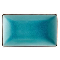 CAC 666-33-BLU Japanese Style 5 inch x 3 1/2 inch Rectangular China Plate - Black Non-Glare Glaze / Lake Water Blue - 36/Case
