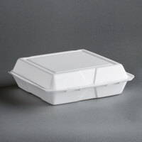 Dart Solo 95HT1R 9 1/2 inch x 9 inch x 3 inch White Foam Hinged Lid Container 100 / Pack