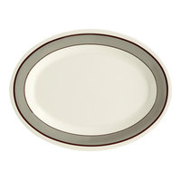 GET OP-950-CA 9 3/4 inch x 7 1/4 inch Diamond Cambridge Oval Platter - 24/Case