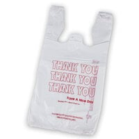 1/8 Size White Thank You T-Shirt Bag - 1500 / Case