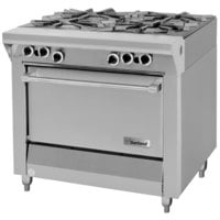 Garland M44S Master Series Liquid Propane 4 Burner 34 inch Range with Storage Base - 128,000 BTU