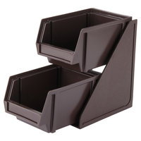 Vollrath 4840-01 Traex Brown Self-Serve Condiment Bin Stand Set with 2-Tier Stand and 8 inch Condiment Bins