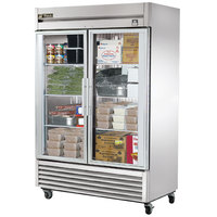 True TS-49FG-LD 54 inch Stainless Steel Two Section Glass Door Reach In Freezer with LED Lighting - 43.5 Cu. Ft.