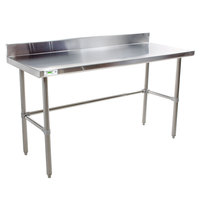 Regency 16 Gauge 24 inch x 60 inch Stainless Steel Commercial Open Base Work Table with Backsplash