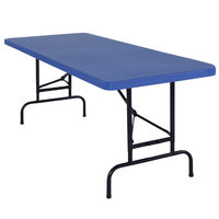 National Public Seating BTA-3072-04 30 inch x 72 inch Blue Plastic Adjustable Folding Table