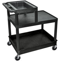 Luxor / H. Wilson LPT42 Three Shelf Tiered Utility Cart with Work Top - 24 inch x 32 inch x 42 inch