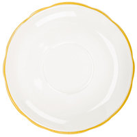 CAC SC-2G 6 inch American White (Ivory / Eggshell) Scalloped Edge China Saucer With Gold Band - 36/Case