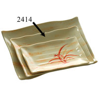 Gold Orchid 13 1/2 inch x 9 1/8 inch Rectangular Melamine Wave Plate - 12 / Pack