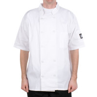Chef Revival J105-XL Size 48 (XL) Customizable Short Sleeve Double Breasted Chef Coat - Poly Cotton
