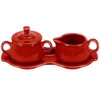 Homer Laughlin 821326 Fiesta Scarlet Sugar and Cream Tray Set - 4/Case