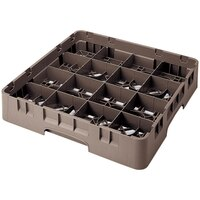 Cambro 16S1114167 Camrack 11 3/4 inch High Brown 16 Compartment Glass Rack