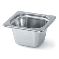 Vollrath 8264205 Miramar 1/6 Size Satin-Finished Stainless Steel Steam Table Food Pan - 4 inch Deep