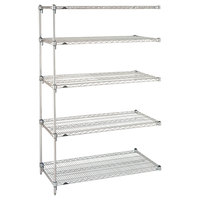Metro 5AA337C Stationary Super Erecta Adjustable 2 Series Chrome Wire Shelving Add On Unit - 18 inch x 36 inch x 74 inch
