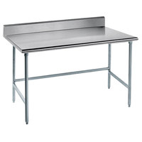 Advance Tabco TKLG-366 36 inch x 72 inch 14 Gauge Open Base Stainless Steel Commercial Work Table with 5 inch Backsplash