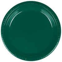 Creative Converting 28312421 9 inch Hunter Green Plastic Dinner Plate - 20 / Pack