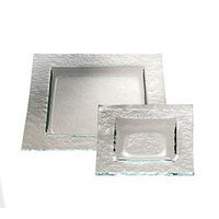 Service Ideas Tuscany Glass Eco-Line 9515 4 3/4 inch Clear Square Plate with Green Tint 12/Case