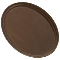 Carlisle 3100GR076 Toffee Tan 31 inch x 23 inch Oval Griptite Non Skid Fiberglass Serving Tray