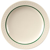 Homer Laughlin 1430-0344 Green Jade Gothic Off White 6 1/4 inch Narrow Rim Plate - 36/Case