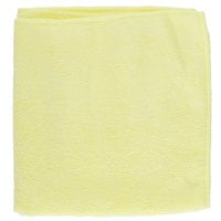 16 inch x 16 inch Yellow Microfiber Cleaning Cloth - 12 / Pack