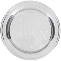 16 inch Stainless Steel Serving / Display Tray with Swirl Pattern - Wide Rim