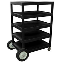 Luxor / H. Wilson BCB55 Black 5 Shelf Serving Cart - 24 inch x 32 inch x 49 inch