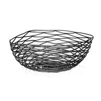 Tablecraft BK17310 Artisan Square Black Wire Basket - 10 inch x 10 inch x 4 inch