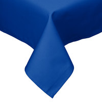 54 inch x 54 inch Royal Blue Hemmed Polyspun Cloth Table Cover
