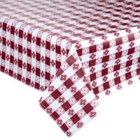 52 inch x 90 inch Burgundy-Checkered Vinyl Table Cover with Flannel Back