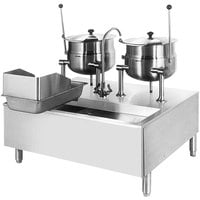 Cleveland SD-1050-K66 (2) 6 Gallon Tilting 2/3 Steam Jacketed Direct Steam Kettles with Modular Stand