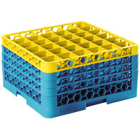 Carlisle RG36-4C411 OptiClean 36 Compartment Glass Rack with 4 Color-Coded Extenders - Yellow / Carlisle Blue