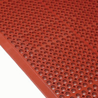 Cactus Mat 4420-RSWB VIP Duralok 3' 2 inch x 5' 1 inch Red Grease-Resistant Anti-Fatigue Anti-Slip Floor Mat with Beveled Edge - 3/4 inch Thick