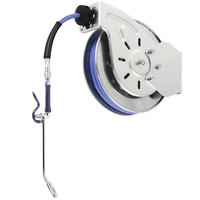 T&S B-7212-10 15' Open Epoxy Coated Steel Hose Reel with EB-2322 Extended Spray Wand