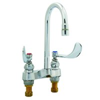 T&S B-0892-QT-LF16 Deck Mount Medical Lavatory Faucet with 4 inch Centers, 4 inch Wrist Action Handles, 1.6 GPM Outlet, and Quarter Turn Eterna Cartridges