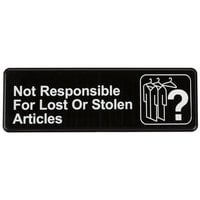 Not Responsible for Lost or Stolen Articles Sign - Black and White, 9 inch x 3 inch