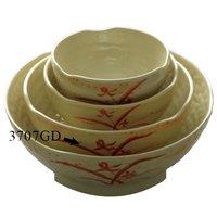 Gold Orchid 24 oz. Round Melamine Wave Rice Bowl - 12/Case