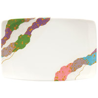 GET 141-CO 6 3/4 inch x 4 1/2 inch Contemporary Melamine Bowed Rectangle Plate - 12/Pack