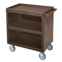 Cambro BC3304S131 Dark Brown Three Shelf Service Cart with Three Enclosed Sides - 33 1/8 inch x 20 inch x 34 5/8 inch