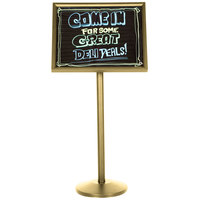 Aarco Single Pedestal Brass Frame Black Marker Board with Neon Markers