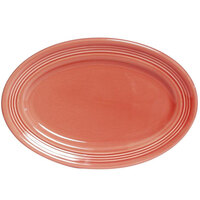 Tuxton Concentrix CNH-0962 Cinnebar 9 3/4 x 7 inch Oval China Platter Coupe 24/Case
