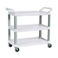Rubbermaid FG409100OWHT Ivory Three Shelf Utility Cart / Bus Cart 40 inch x 20 inch x 37 inch