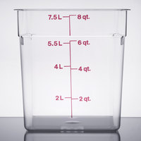 Cambro 8SFSCW135 8 Qt. Clear Square Polycarbonate Food Storage Container with Winter Rose Gradations