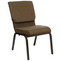 Brown 18 1/2 inch Wide Church Chair with Gold Vein Frame